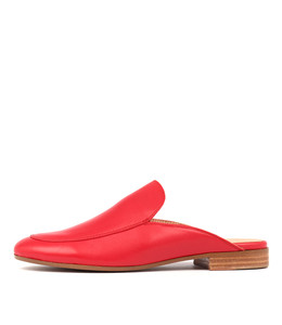 LEVON Mules in Red Leather