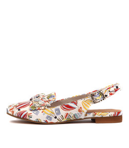 BARBOSO Flats in White Balloon Printed Leather