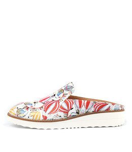 ONTEKKA Mules in White Balloon Printed Leather