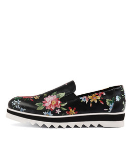 OFLOWER Flatforms in Black Flower Print Leather