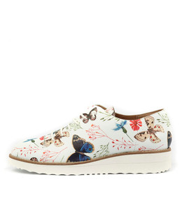 OPIUM Lace-up Flatforms in White Floral Print Leather