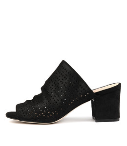 FENNO Heeled Mules in Black Dust Suede