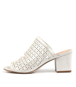 FENNO Heeled Mules in Silver Dust Suede