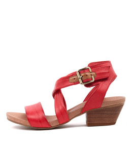 CHILLY Heeled Sandals in Red/ Tan Leather