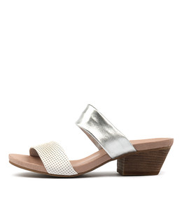 CHERUBS Heeled Sandals in White/ Silver Leather