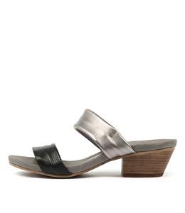 CHERUBS Heeled Sandals in Black/ Pewter Leather