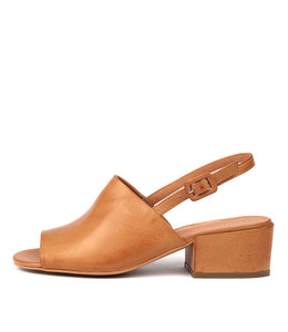 FLORISTS Heeled Sandals in Dark Tan Leather