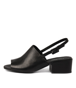 FLORISTS Heeled Sandals in Black Leather