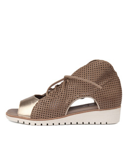 GLORIAS Sandals in Champagne/ Taupe Leather