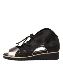 GLORIAS Sandals in Pewter/ Black Leather