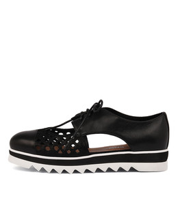 ODDBOD Lace-up Flatforms in Black/ Metallic Leather