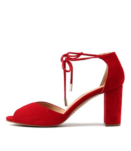 TEMPLE Heeled Sandals in Red Suede