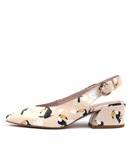 ORMOND High Heels in Pink Bird Print Leather