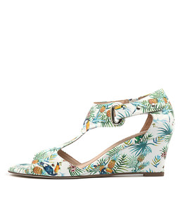 UNICO Wedge Sandals in White Tropical Print Leather