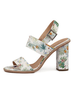 SOWZER High Heels in White Tropical Print