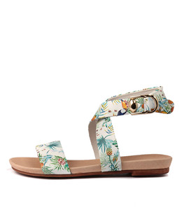 CONNECT Sandals in White Tropical Print Leather