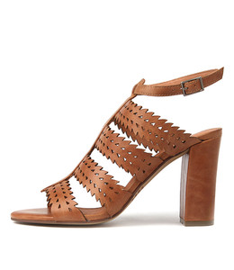 SIMONE Heeled Sandals in Tan Leather