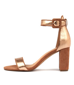 TREEM Heeled Sandals in Rose Gold/ Multi Leather