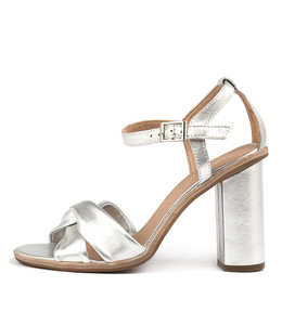 SERTIM Heeled Sandals in Silver Smoke Leather