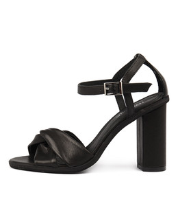 SERTIM Heeled Sandals in Black Leather