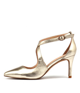 BONNIE High Heels in Pale Gold Leather