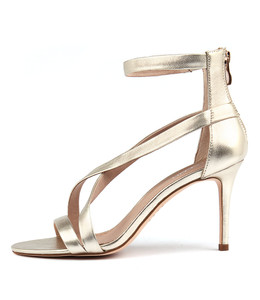 DUSTY Heeled Sandals in Pale Gold Leather