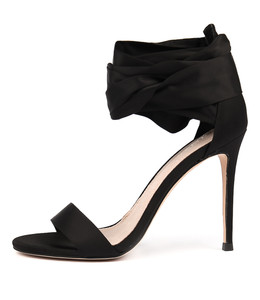 DELICIOUS Heeled Sandals in Black Satin