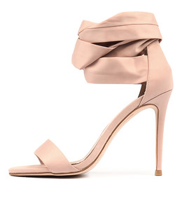 DELICIOUS Heeled Sandals in Blush Satin