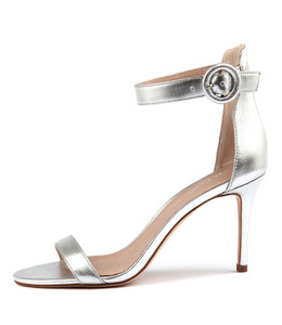 DRIVE Heeled Sandals in Silver Leather