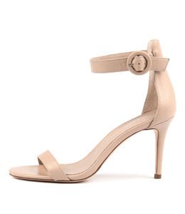 DRIVE Heeled Sandals in Dark Nude Leather