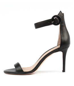 DRIVE Heeled Sandals in Black Leather