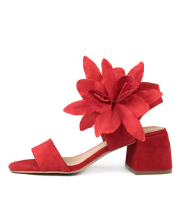 WYNELL Heeled Sandals in Red Suede