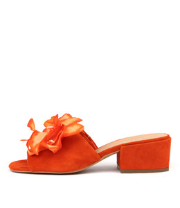 FLYING Heeled Sandals in Orange Suede