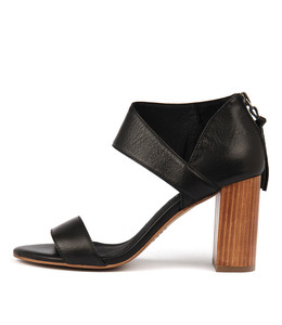 YANET Heeled Sandals in Black Leather
