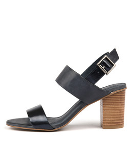 LOLTA Heeled Sandals in Navy Leather