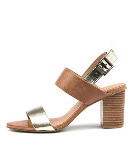 LOLTA Heeled Sandals in Gold/ Tan Leather