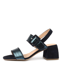 WOWERS Heeled Sandals in Teal/ Metallic Multi Leather