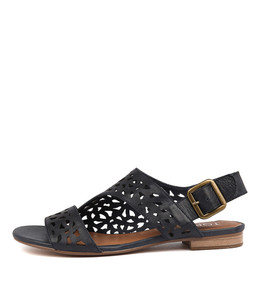 POSSESS Sandals in Navy Leather