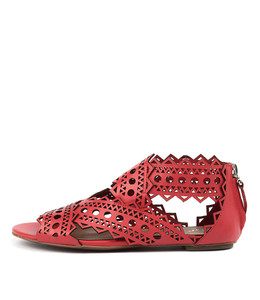 PANIOS Sandals in Red Leather
