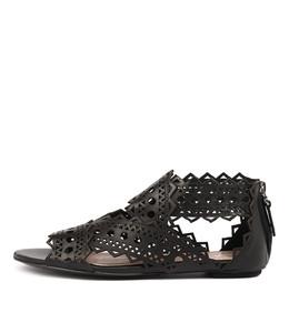 PANIOS Sandals in Black Leather