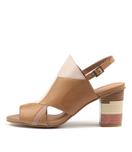 LINDO Heeled Sandals in Dark Tan/ Multi Leather