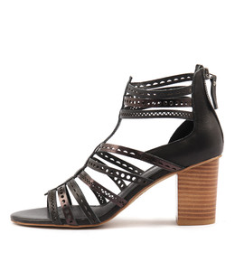 LIRGO Heeled Sandals in Black/ Black Shine Leather