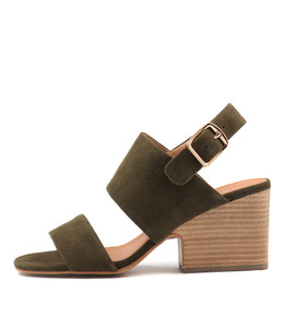 BRETHA Heeled Sandals in Khaki Suede