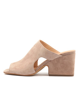 ALLSPICE Heeled Sandals in Taupe Suede