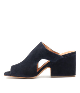 ALLSPICE Heeled Sandals in Navy Suede