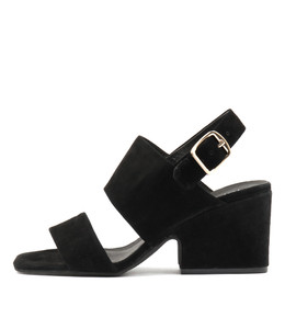 ARETHA Heeled Sandals in Black Suede