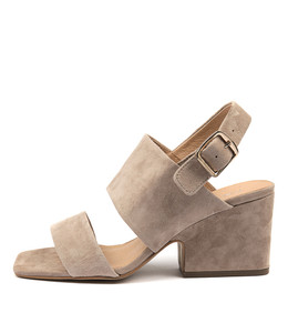 ARETHA Heeled Sandals in Taupe Suede