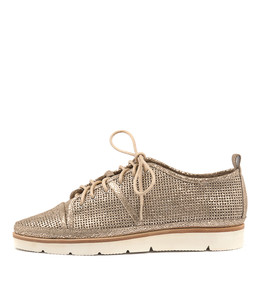 EXCESS Lace-up Sneakers in Peach Crackle Leather