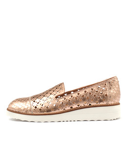 OLENO Flatforms in Rose Gold/ Smoke Cut Leather