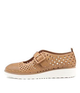ODLING Flatforms in Dark Tan Leather